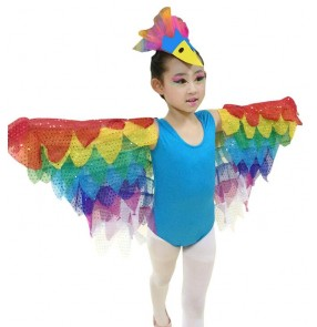 Yellow turquoise fuchsia hot pink rainbow wings parrot birds cosplay fairy princess girls children toddlers modern dance dresses outfits