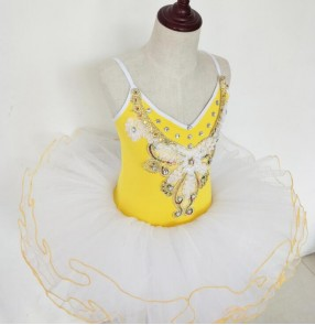 Yellow white embroidery pattern tutu skirt girls kids children pancake plate rehearsal performance ballet dresses