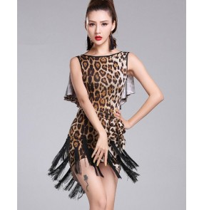 Zebra brown blue leopard High quality sexy tasse women l latin dance dress fringe latin dance costumes for women