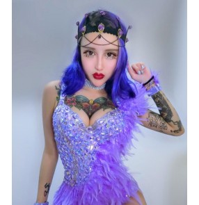 Sexy violet feather Jazz Dance Stage Costumes For Singers Hip Hop Dance Costume Female Ds Dj Rhinestone Nightclub Dress