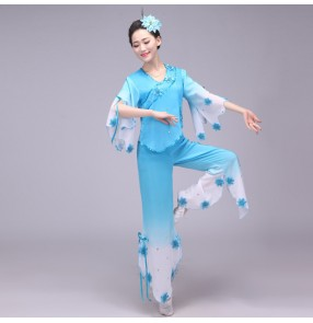 Chinese dance Costume for women fairy Yangko suit hanfu dress costume fairies chiffon skirt Chinese folk dance costumes