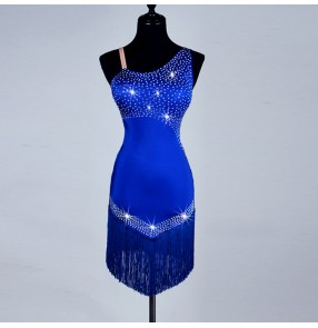 Royal blue rhinestones competition latin dance dress women salsa rumba modern dance costumes dancing clothes Dancewear