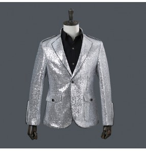 male men's silver paillette costumes stage wear Photos fashion nightclub bar singer dancing blazer suit show drummer performance jackets