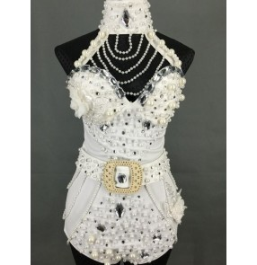 White red black Handmade Pearl Women Stage Wear Dance Outfit Jazz Dancing One Piece Costume  Club Female Singer Wear bodysuit