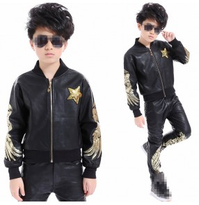 children boy leather long sleeve Black with gold sequins Hip Hop hiphop performance competition DS Jazz Dance Costumes pants jacket set