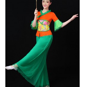 Green orange patchwork classical woman traditional Chinese yangko  fan folk dance dance  for women china national ancient dress costumes