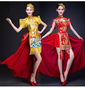 Chinese dragon china style Folk traditional Dance Performance Costumes Classical Dance fan Folk drummer Dance Dresses
