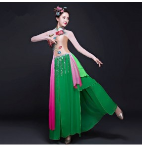 Green colored patchwork Traditional Chinese Clothing Women Ancient Chinese Style Costume Chinese Yangko Folk Dance Costume Fan Dance Outfits