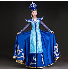 Royal blue folk dance party cosplay photos stage performance Dance clothes Costume Mongolian dance gowns dress Women clothing outfits
