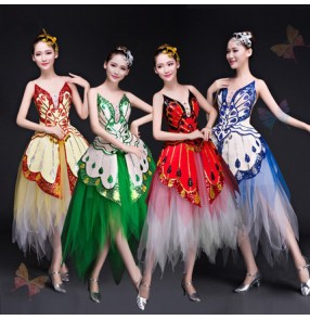 Red yellow blue green butterfly dancers singers Jazz Dance Modern Dance Costume Fashion  Dancing Dress Stage party Show Dresses