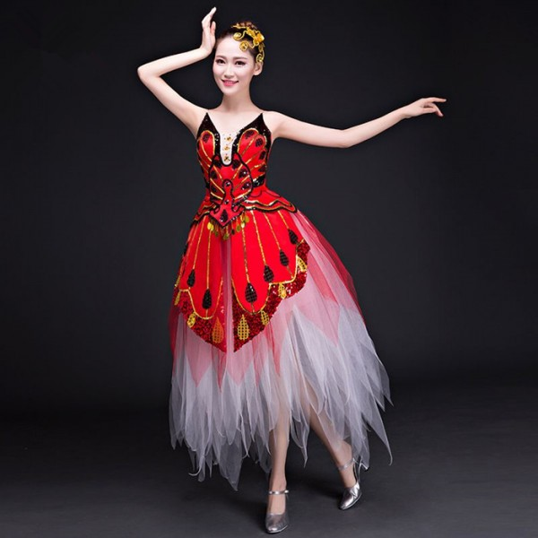 ba92eb474f053 Red yellow blue green butterfly dancers singers Jazz Dance Modern Dance  Costume Fashion Dancing Dress Stage party Show Dresses