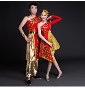Red gold traditional chinese dance costumes women one sleeves folk dance costume national costume for woman fan clothing performance