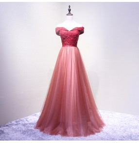 Wine red silver lace dew shoulder Formal wedding party Evening Dresses Long Women Elegant V neck Sleeveless Empire Evening Dresses gowns