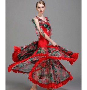 Royal blue dark green red floral Ballroom dance costumes senior flamenco sleeveless ballroom dance dress for women ballroom dance competition dresses