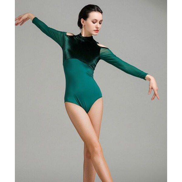 dc42daf2 Dark green wine turquoise velvet Women's Ballroom long sleeves ...