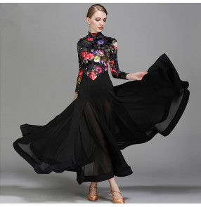 red floral velvet flamenco dress dance costumes ballroom dance competition dresses ballroom dance dresses waltz tango vestidos de baile de salón
