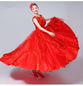 Red green Modern petal dance costume ballroom dance womens vestido de baile flamenco long dress spanish dance costume dress