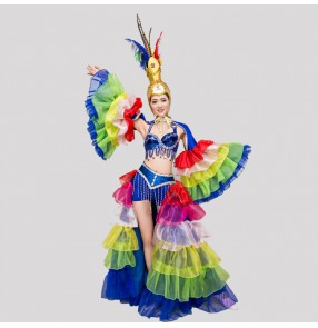 Rainbow colored Feather costumes Samba dancing costumes Opening show clothing Feather clothing trajes de baile de samba