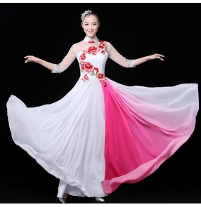 Royal blue white yellow classical woman traditional Chinese folk dance dance costumes for women china national ancient dress costume