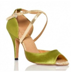 Women girl's Lime Green Satin  Ballroom Latin Dance Shoes Wholesale Salsa Dance Shoes high heels 6cm