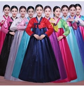 Red blue white silver pink Korean Traditional Costume Female Palace Korean Hanbok Dress Ethnic Minority Dance Hanbok Stage Cosplay