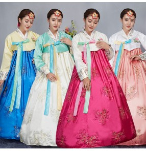 Green fuchsia blue Korean classical party cosplay Hanbok Vintage Korean Traditional Dress Ladies Women Elegant Hanbok Korean Dress
