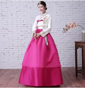 Pink blue Korean Traditional Costume Stage Cosplay Female Palace Korean Hanbok Dress Ethnic Minority Dance Hanbok