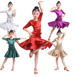Gold red Child satin Latin Dance Dresses Kids Ballroom Dance Costume Girl Modern Dance Dress Vestido Waltz Stage Dance Clothing