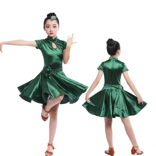 ed46e94ed Girl Short Sleeves Latin Dance Dress Children Ballroom Dance Dresses ...