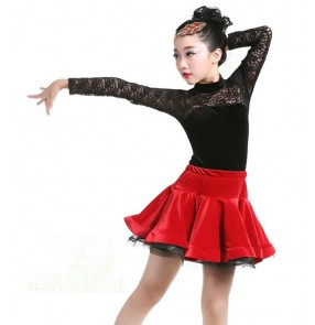 Dark green Pink Black Red lace long sleeves velvet Salsa Dress Child Girls Kids Latin Dresses Girls Latin Dance Costumes