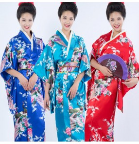 Red royal blue turquoise women traditional Japanese kimonos silk robes yukata kimono geisha cosplay dresses uniform temptation female clothes