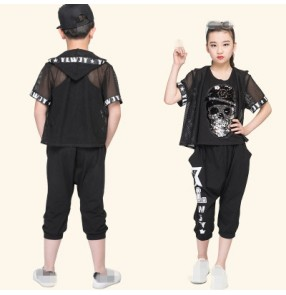 Children Sets Girl Boy Black Jazz Hip Hop Modern Dance wear Set Kid Dance Costume Short Sleeve Top & Pants Fit