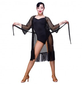 Sexy Cheap black Latin Dance Dress Women Professional Latin Skirt Samba Dance Latin Salsa Dresses out see though Cardigans