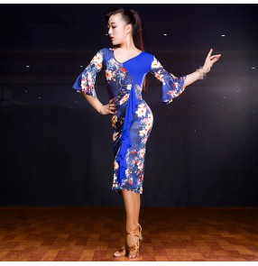 Royal blue floral yellow leopard Latin Dance Dress Women Flamenco Salsa Samba Tango Ballroom Competition Costumes Lady Dance