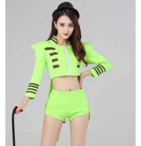Night club bar neon green women's  trajes de danza jazz Fashion Star Female Singer DS Costume Dance Jazz Formal Dress Tuxedo Costumes