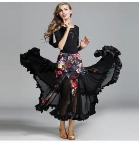 Floral black lace women's Competition standard ballroom dance wear ballroom dress woman waltz smooth ballroom dresses