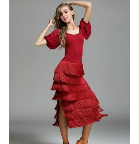 Dark green wine red yellow competition fringes Latin Dance Dress Women Professional Latin Skirt Samba Dance Latin Salsa Dresses