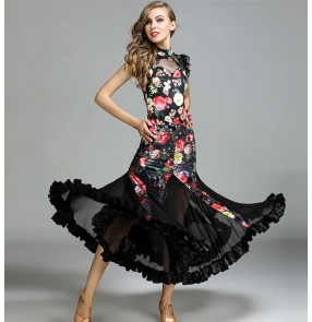 Velvet floral Ballroom dance costumes sexy senior sleeveless ballroom dance dress for women ballroom dance competition dresses