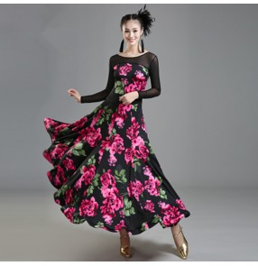 Rose flowers vestido de baile flamenco Ballroom dance costumes Long sleeves ballroom dance dress for women ballroom dance competition dresses