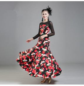 Red rose women vestido de baile flamenco long sleeves ballroom dance competition standard dress Waltz Tango Dance Dress Ballroom Costume