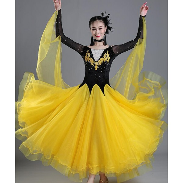 a23ec7a0c Red gold white Ballroom dance costumes sexy senior stones long sleeves  ballroom dance dress for women ballroom dance competition dresses