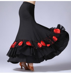 Women Black Ballroom Dance Skirt Long Swing Modern Standard Waltz Competition Dance Dance Tango Skirts faldas de danza