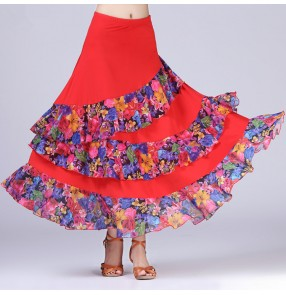 black Purple red royal blue floral Modern Dance costumes flamenco dance skirts ballroom dance skirts dance wear faldas de baile flamenco