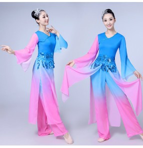 Blue pink gradient traditional Chinese dance costumes women long sleeve fan ancient yangko national folk dance costumes for woman