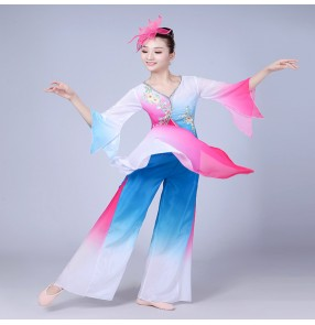 Blue pink gradient traditional Chinese folk dance fan dance costumes for women dance national yangko folk dance costumes