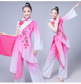 Women fuchsia gradient Chinese Folk dance costumes yangko umbrella fan classical dance costumes for legend performance