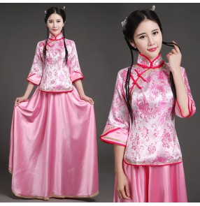 Gold fuchsia pink violet Traditional Chinese Costume Female Guzheng Costume Chinese Folk Dance Women's Performance Dancing Costumes