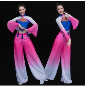 Fuchsia royal blue traditional women Chinese folk dance costumes national costume for woman fan clothing performance