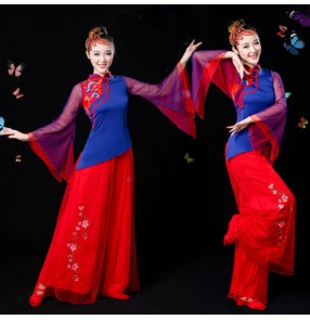 Red royal blue classical traditional ostume dance costumes dress chinese dance costumes folk dance costumes