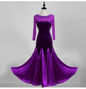 Royal blue black violet velvet Ballroom dance costumes sexy senior Long sleeves ballroom dance dress for women ballroom dance competition dresses